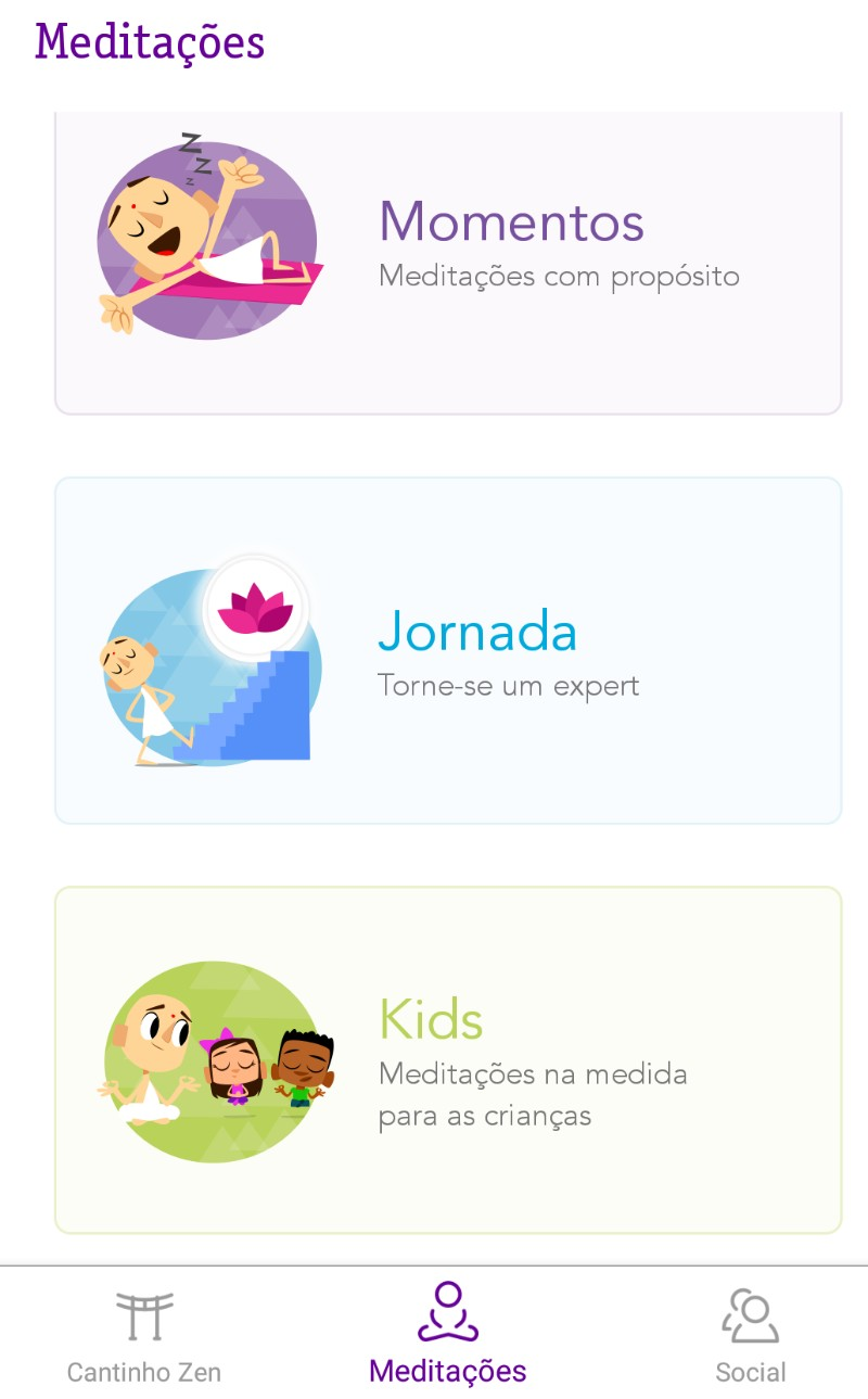 app ensina crianças a meditar